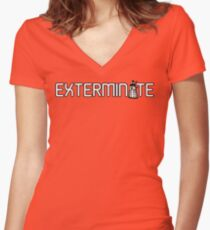 Exterminate (White Variant) Women's Fitted V-Neck T-Shirt