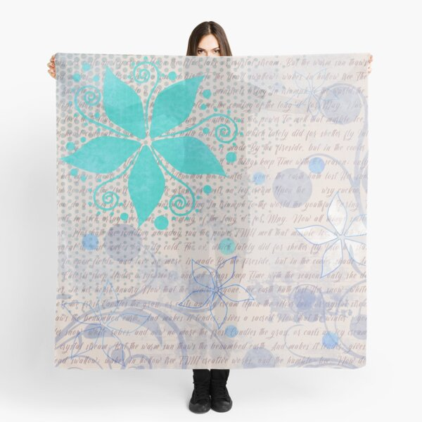 Floral Pattern in Aqua and Light Tan Scarf