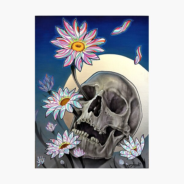 Rebirth (Skull and Flowers) Photographic Print