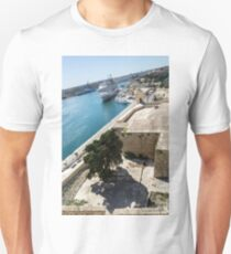 Valletta Grand Harbour - High Noon Shadows and Cruise Ships T-Shirt