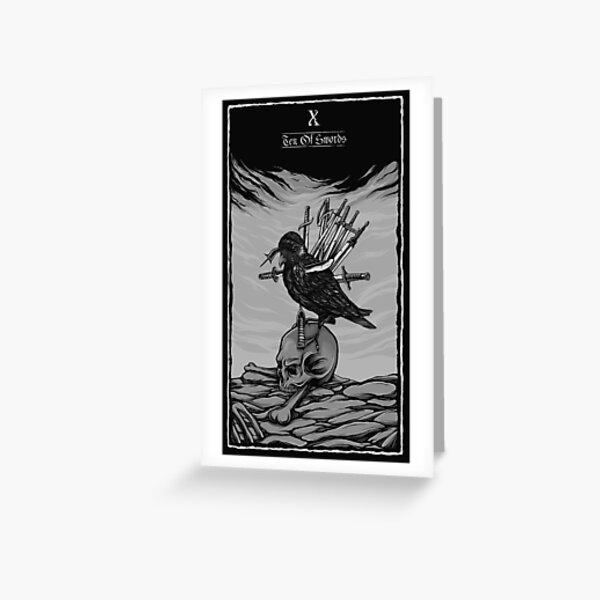 Ten Of Swords Tarot Deck - Minor Arcana Greeting Card