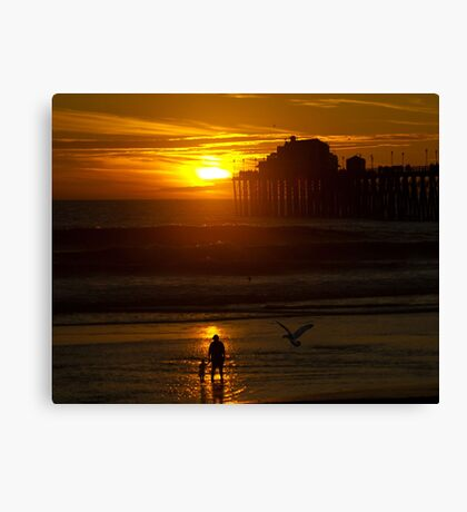 Mother and Child at Sunset Canvas Print