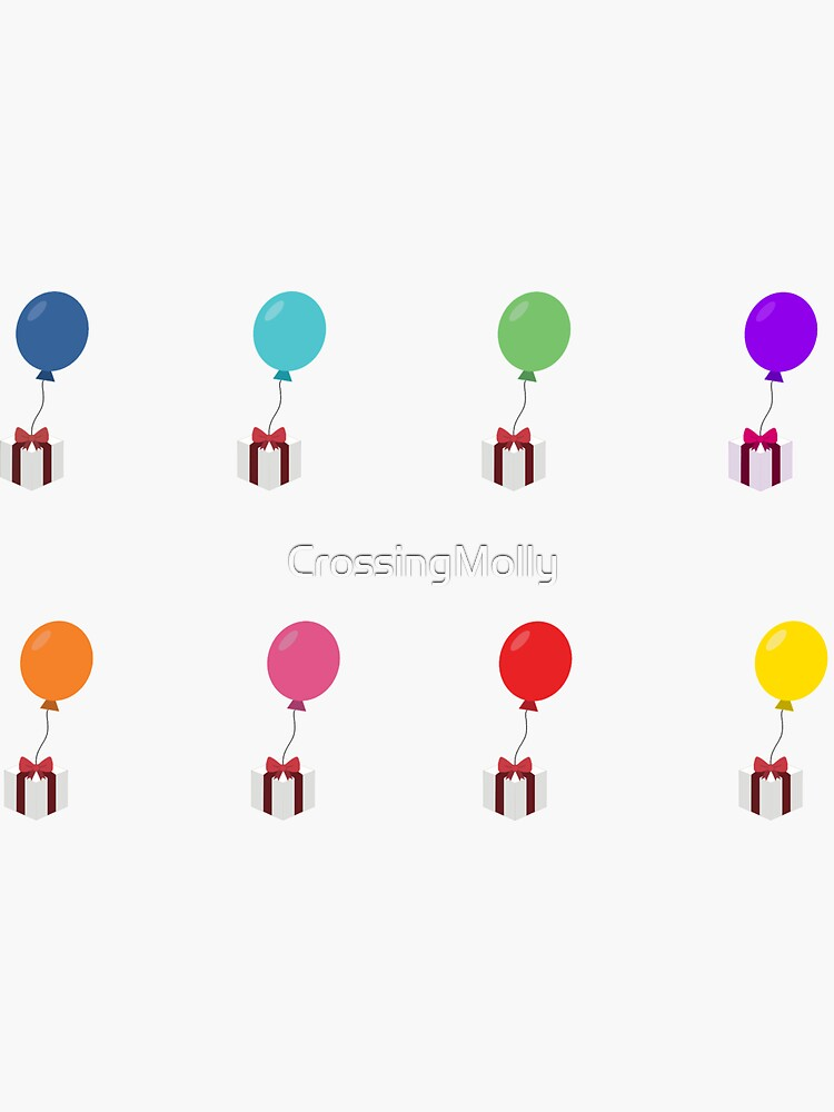 Balloon With Present Sheet Rainbow 8 Colours by CrossingMolly