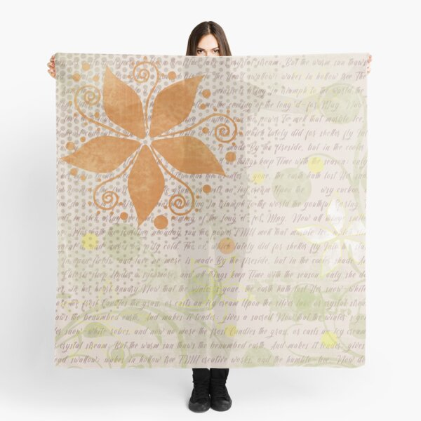 Floral Pattern in Orange and Light Tan Scarf