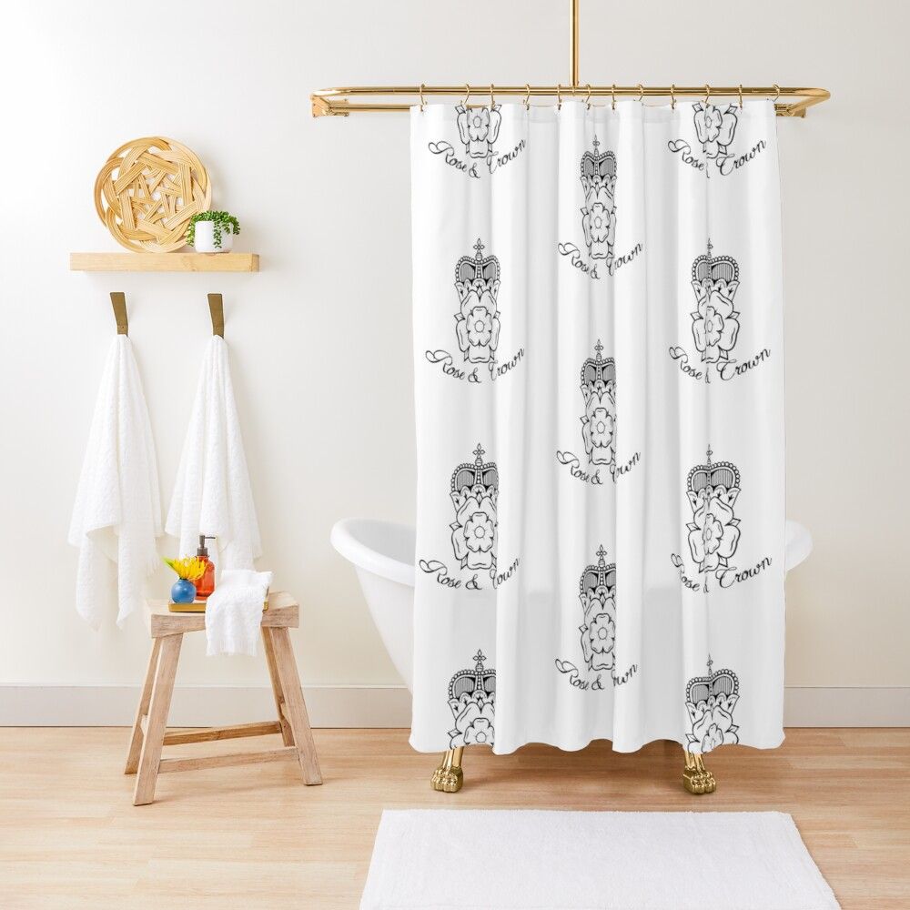 Rose and Crown Vector Shower Curtain