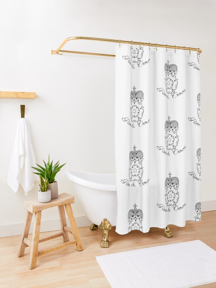 Alternate view of Rose and Crown Vector Shower Curtain