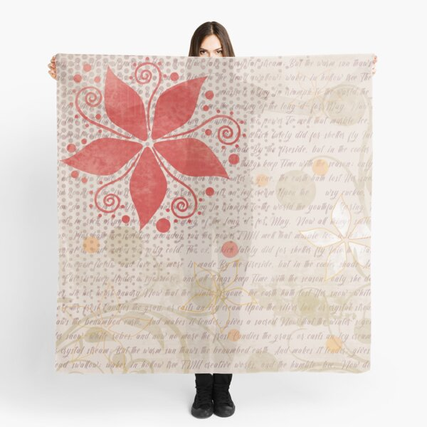 Floral Pattern in Red and Light Tan Scarf