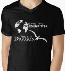 Save the Earth; Ride a Dragon Men's V-Neck T-Shirt