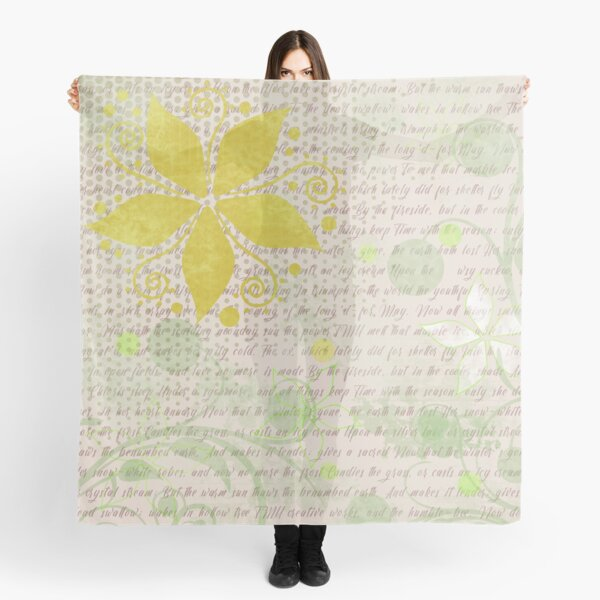 Floral Pattern in Yellow and Light Tan Scarf