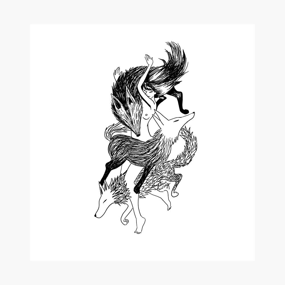 Tatouage D Une Femme Loup Poster By H Ducrocq Redbubble