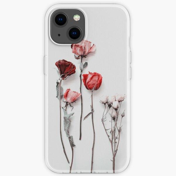 Getrocknete rote & rosa Rosen auf hellem Hintergrund - minimale Ästhetik iPhone Flexible Hülle