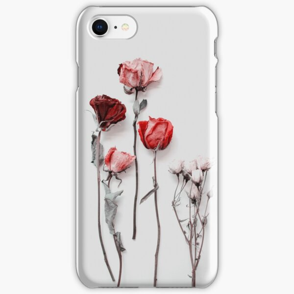 Dried Red & Pink Roses on Light Background - Minimal Aesthetics iPhone Snap Case