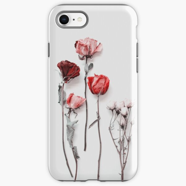 Dried Red & Pink Roses on Light Background - Minimal Aesthetics iPhone Tough Case