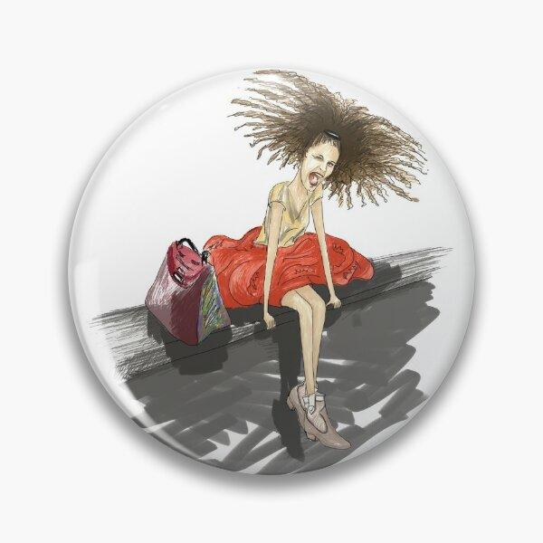 Modezeichnung einer Lady mit viel Haar Button