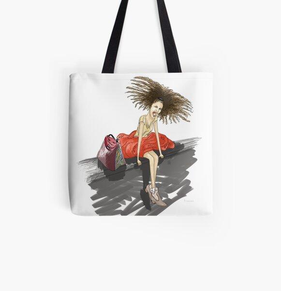 Modezeichnung einer Lady mit viel Haar Allover-Print Tote Bag