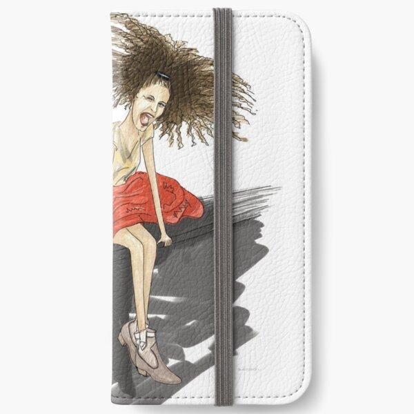 Modezeichnung einer Lady mit viel Haar iPhone Flip-Case