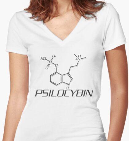 PSILOCYBIN Molecule Women's Fitted V-Neck T-Shirt