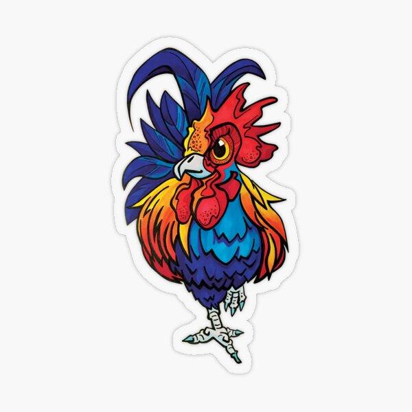 Rainbow Rooster Transparent Sticker