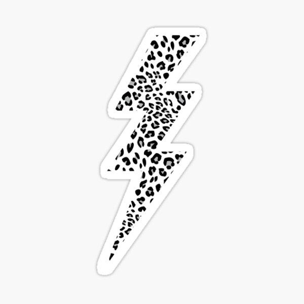 white leopard print lightning bolt Sticker