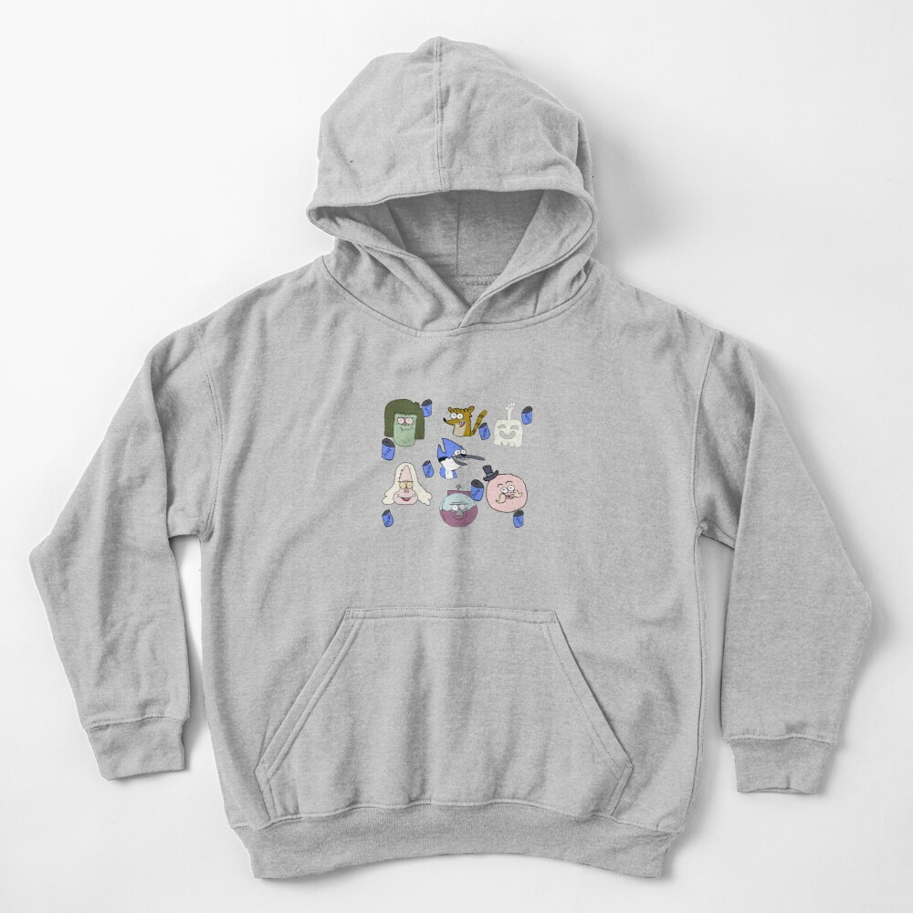 Regular show pattern faces Kids Pullover Hoodie