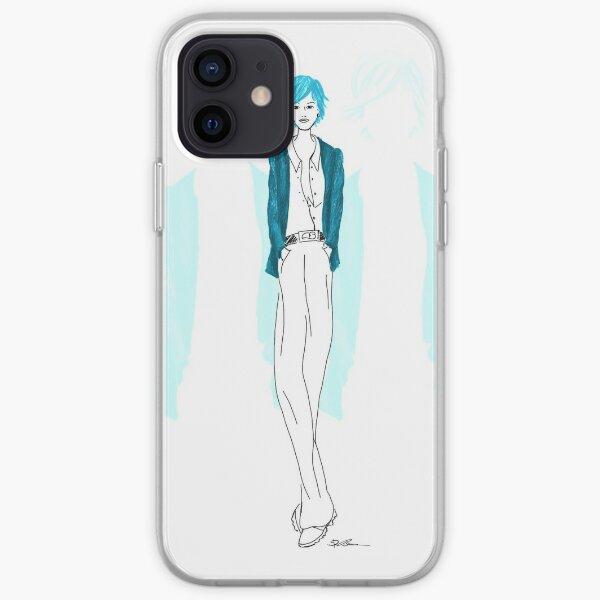 Modezeichnung Blaue Lady iPhone Flexible Hülle