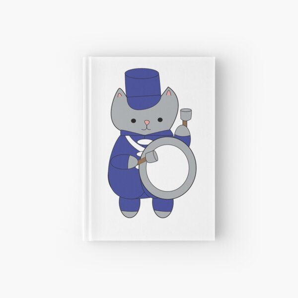 Drummer Marching Band Cat Blue White Hardcover Journal
