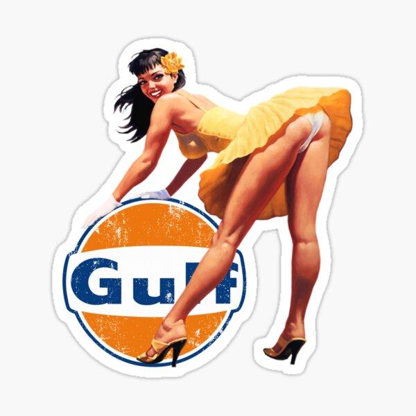 Gulf Racing - Vintage PinUp Girl Sticker