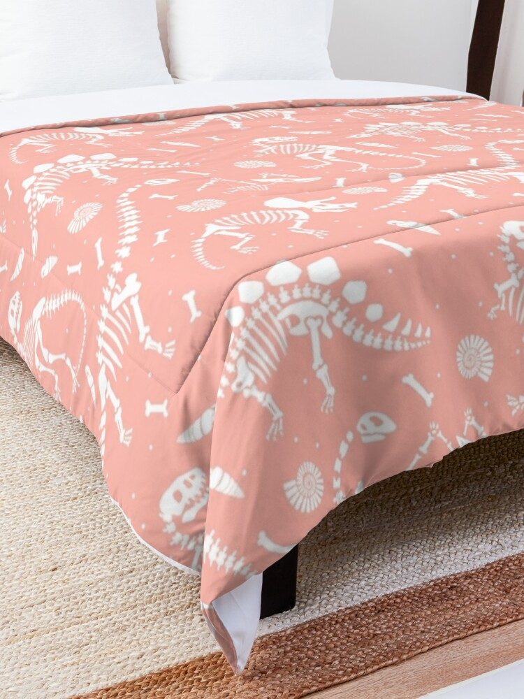 Alternate view of Dinosaurs Fossils on Pink Comforter