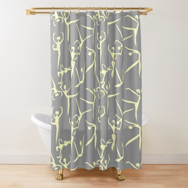 Geometric Dancers pale yellow and gray Shower Curtain