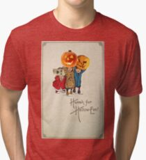 Kids With Decorations (Vintage Halloween Card) Tri-blend T-Shirt