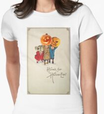 Kids With Decorations (Vintage Halloween Card) Womens Fitted T-Shirt