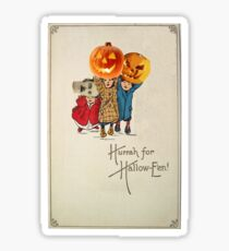 Kids With Decorations (Vintage Halloween Card) Sticker