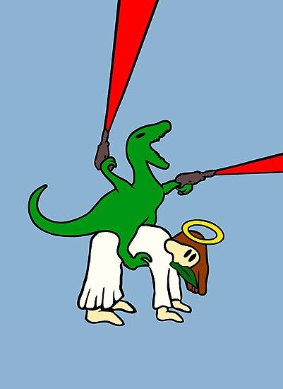 Dinosaur Riding Jesus by jezkemp