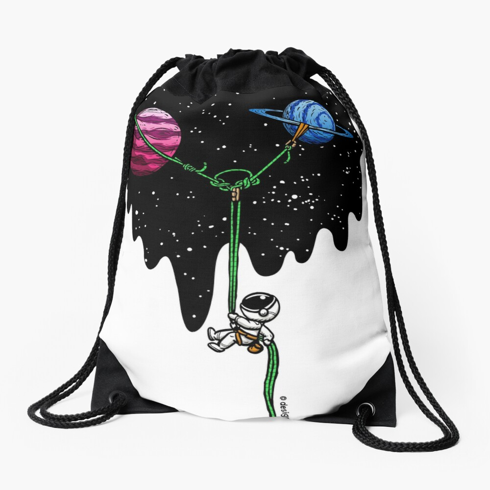 Repelling from the Galaxy   Rock Climbing Drawstring Bag