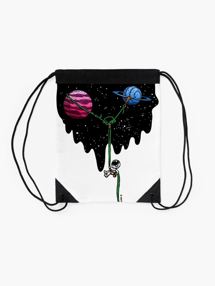 Alternate view of Repelling from the Galaxy   Rock Climbing Drawstring Bag
