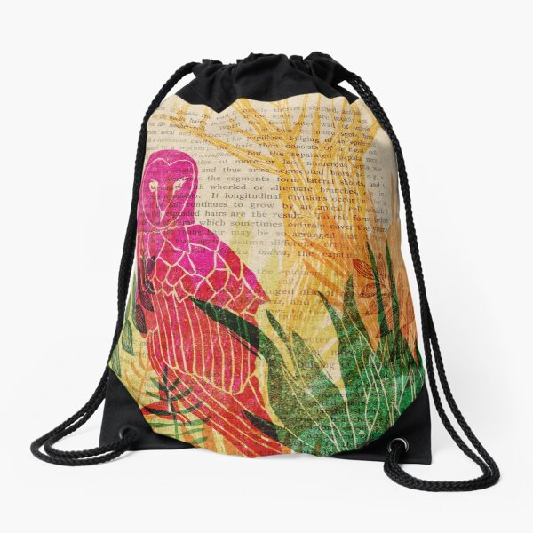 Woodblock Owl Drawstring Bag