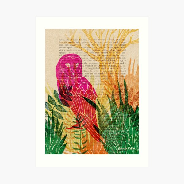 Woodblock Owl Art Print