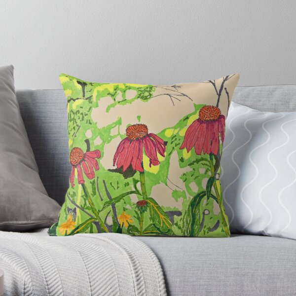 Cone Flowers Sketch and Colour Throw Pillow