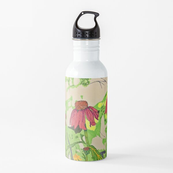 Cone Flowers Sketch and Colour Water Bottle