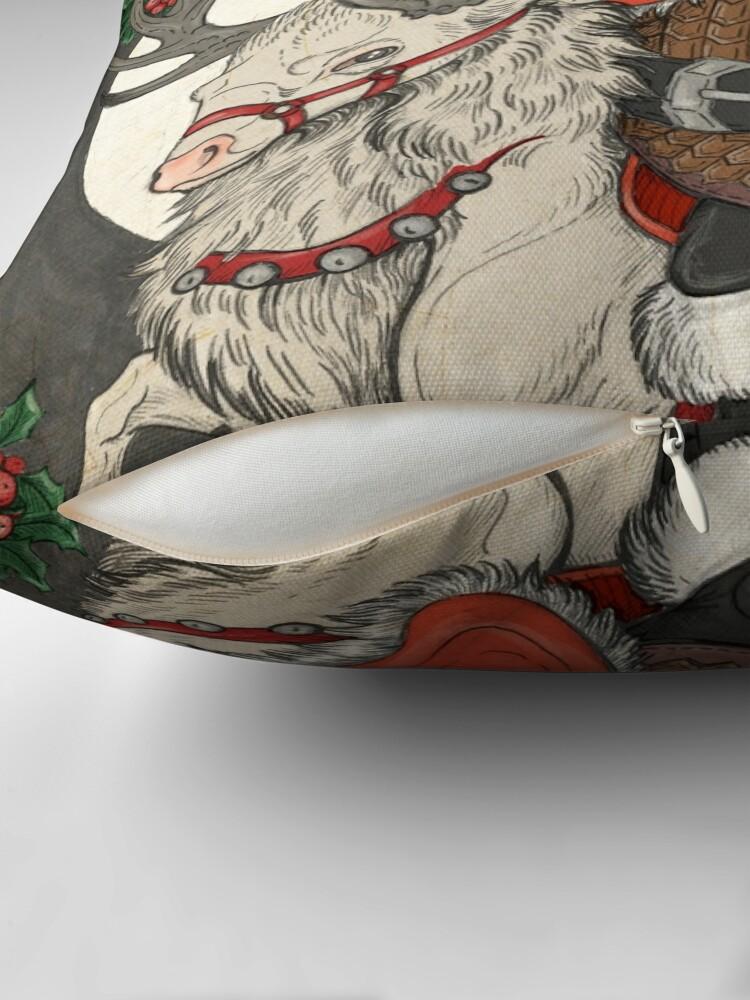 Alternate view of Nordic Santa - Red Throw Pillow