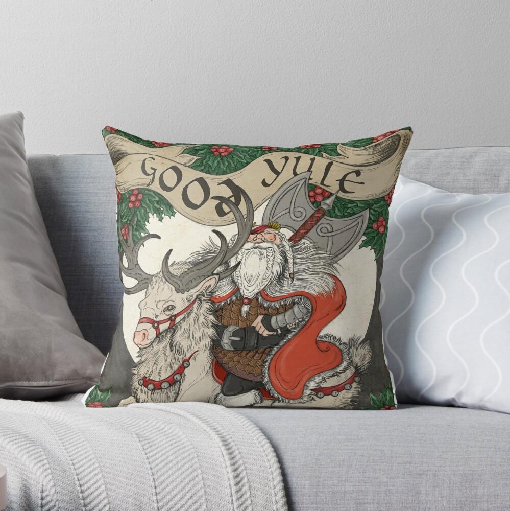 Nordic Santa - Red Throw Pillow