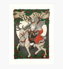 Nordic Santa - Red Art Print