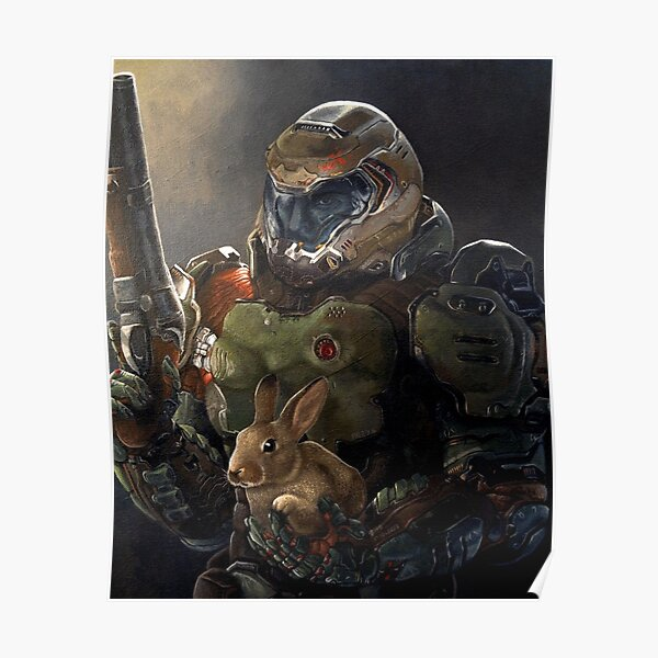 Doomguy And Daisy Painting Poster