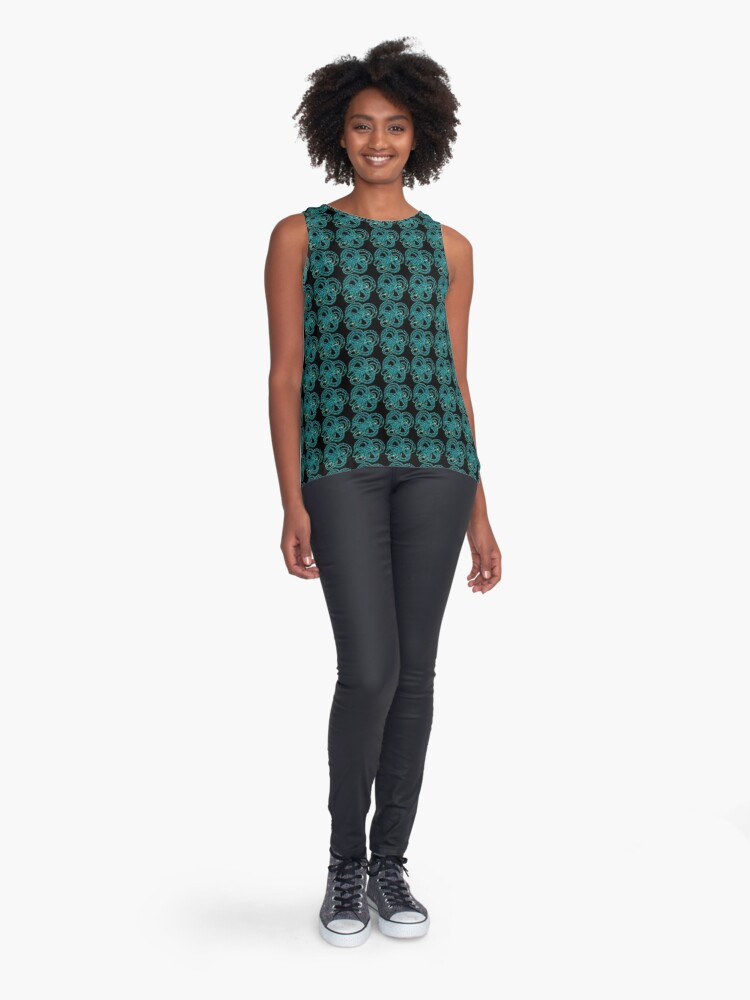 Alternate view of Blue beads pattern Sleeveless Top