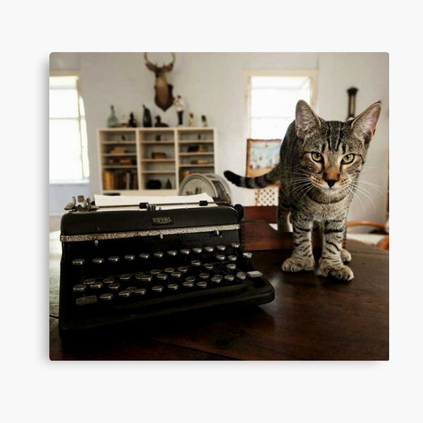 Vintage Ernest Hemingway Tabby Cat on Writing Desk Canvas Print