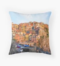Manarola village Cinque terre Italy. Throw Pillow