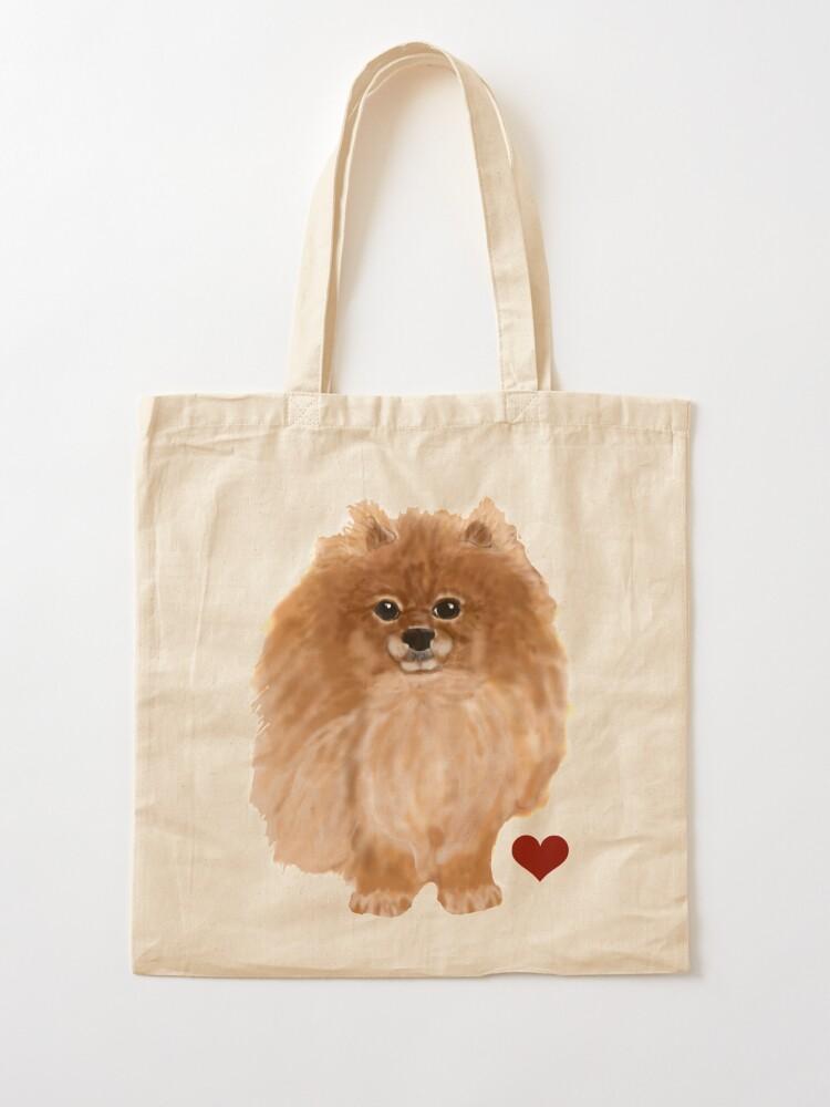 Pomeranian Dog Tote Bag Pomeranian Cotton Canvas Tote Bag Cute Dog Tote Bag