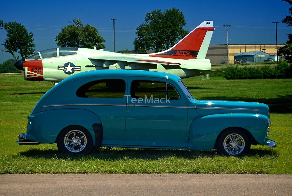 1946 Ford Custom Sedan with A7 Corsair in background by TeeMack