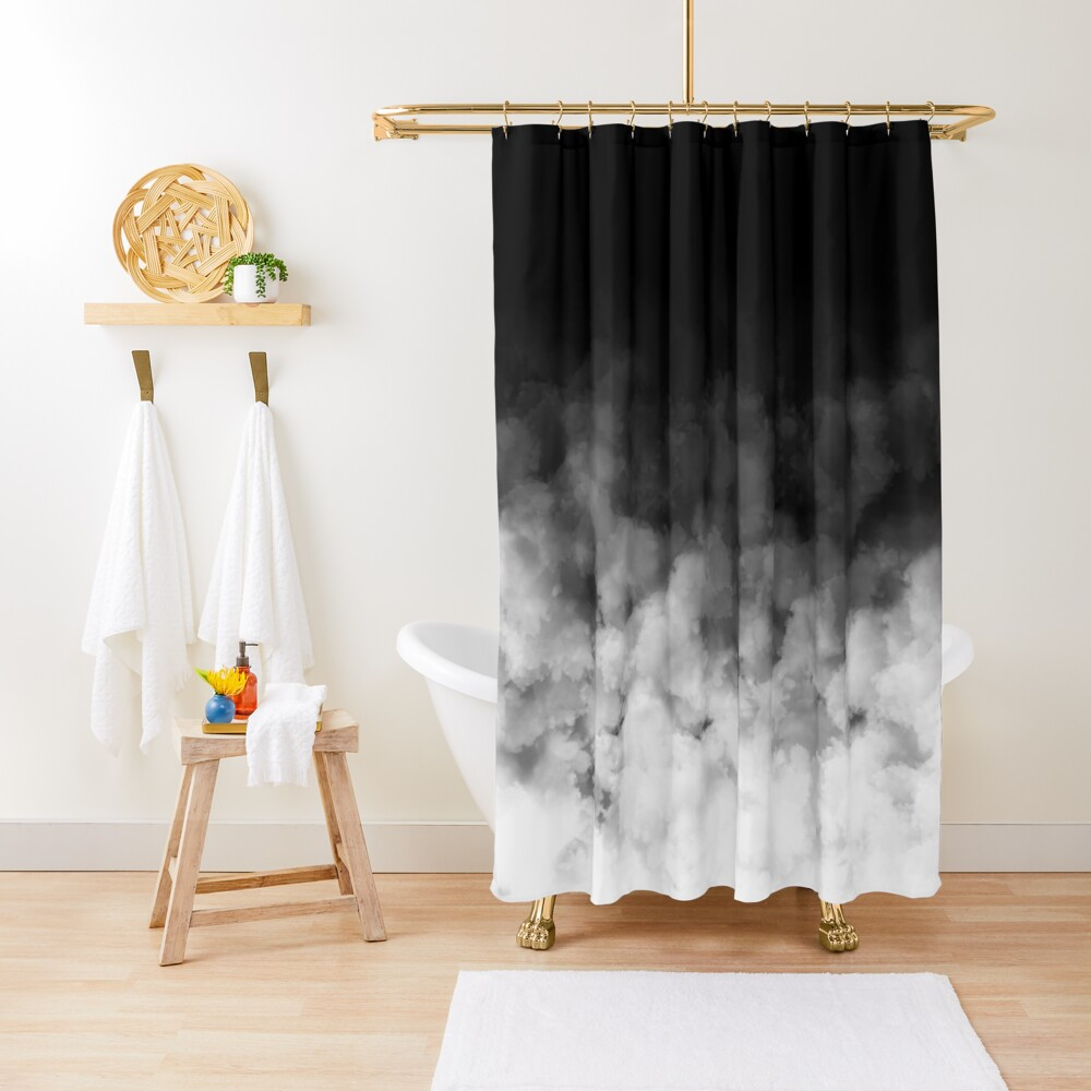 Ombre White and Black Minimal Shower Curtain