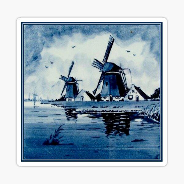 DUTCH BLUE DELFT : Vintage Windmills Print Sticker
